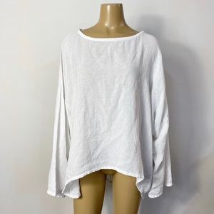 Oh my gauze! Women's white cotton asymmetrical top